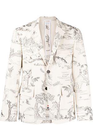 Thom Browne Sketch-pattern single-breasted blazer jacket - Neutrals