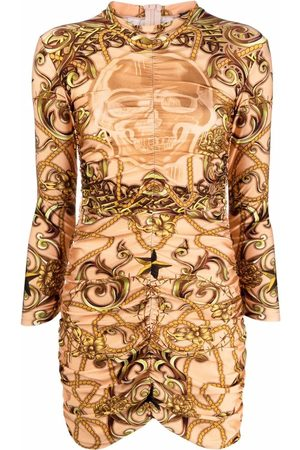 Philipp Plein Baroque-print bodycon dress - Neutrals