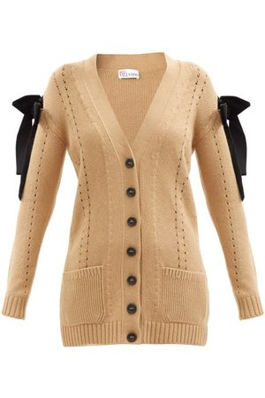 RED Valentino Bow-embellished Longline Cardigan - Womens - Camel