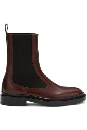 Jil Sander Leather Chelsea Boots - Womens - Burgundy