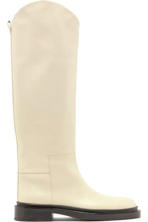 Jil Sander Curved-edge Leather Knee-high Boots - Womens