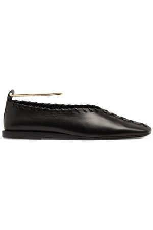 Jil Sander Women Flat Shoes - Whipstitched Square-toe Leather Flats - Womens