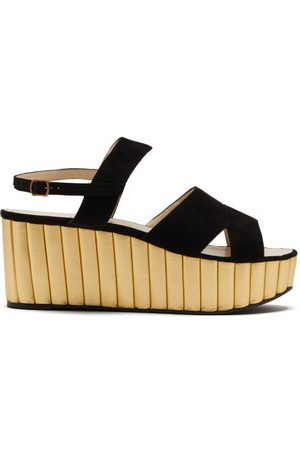Salvatore Ferragamo Mae Suede And Leather Wedge Sandals - Womens