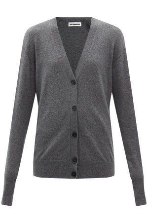 Jil Sander V-neck Cashmere Cardigan - Womens - Dark Grey