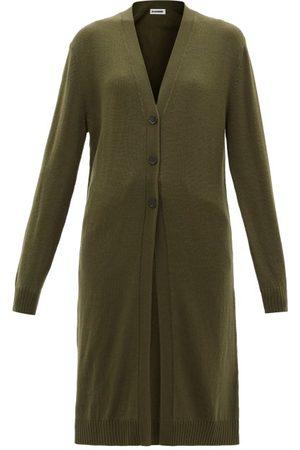 Jil Sander Longline V-neck Wool Cardigan - Womens - Khaki