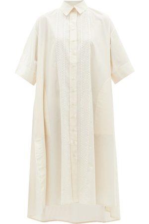 Evi Grintela Embroidered Cotton-blend Shirt Dress - Womens - Ivory