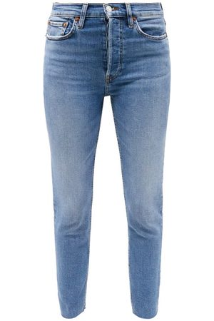 RE/DONE 90s High-rise Slim-leg Cropped Jeans - Womens - Mid Denim