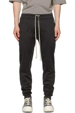 Rick Owens Men Sweats - Black Champion Edition Heavy Jersey Lounge Pants