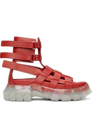 Rick Owens Red Hiking Tractor Sandals