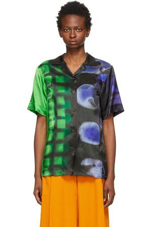 Dries Van Noten Black & Green Len Lye Edition Satin Printed Short Sleeve Shirt