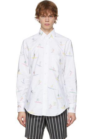 Thom Browne Men Shirts - White Oxford Surfer Icon Classic Fit Shirt