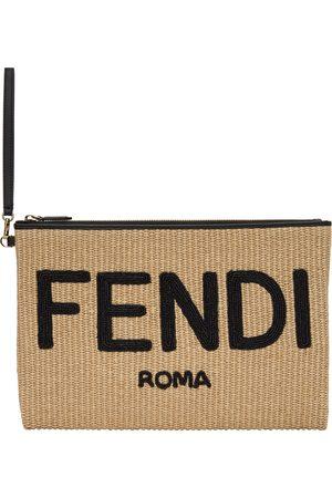 Fendi Women Clutches - Beige Woven Logo Pouch