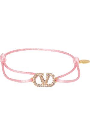 VALENTINO GARAVANI Pink Crystal VLogo Bracelet