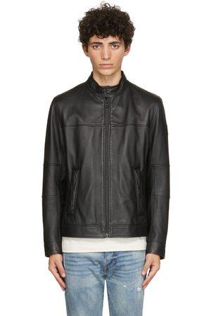 HUGO BOSS Men Leather Jackets - Black Leather Josep Jacket