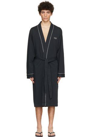 Boss Men Bathrobes - Navy Cotton Kimono Robe