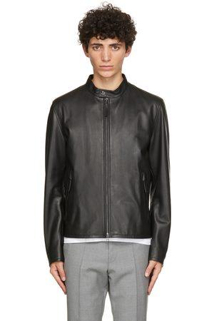 HUGO BOSS Men Leather Jackets - Black Leather Gemos Jacket