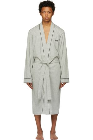 Boss Men Bathrobes - Grey Cotton Kimono Robe