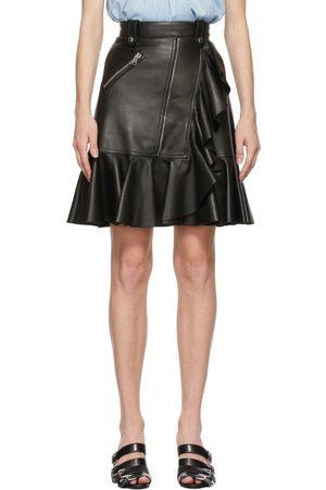Alexander McQueen Women Mini Skirts - Black Leather Ruffle Miniskirt