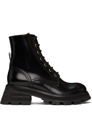 Alexander McQueen Black Patent Lace-Up Boots