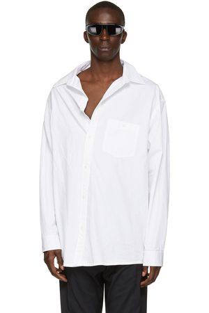 Balenciaga White Poplin Off-Shoulder Shirt