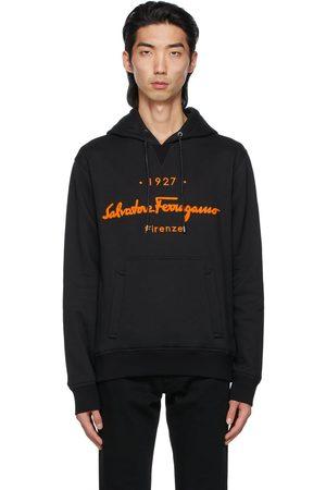Salvatore Ferragamo Black Embroidered Hoodie