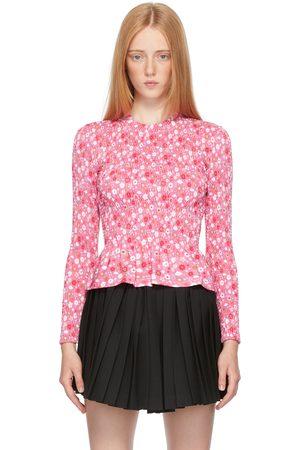 Balenciaga Pink Floral Smocking Long Sleeve T-Shirt