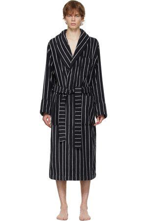 Tekla Black & White Striped Classic Bathrobe