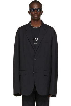 Balenciaga Black Nylon Tailored Blazer