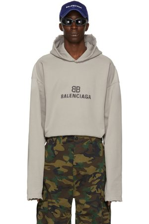 Balenciaga Taupe Distressed BB Pixel Hoodie