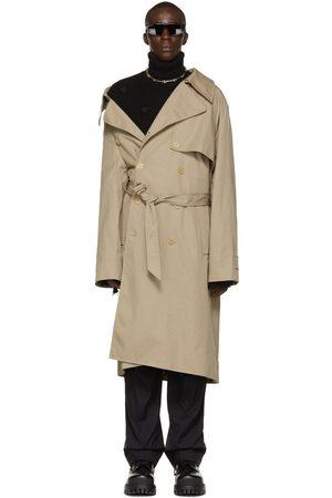 Balenciaga Beige Cotton Drill Off-Shoulder Trench Coat