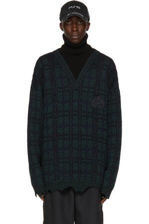 Balenciaga Green & Black Wool Tartan Turtleneck