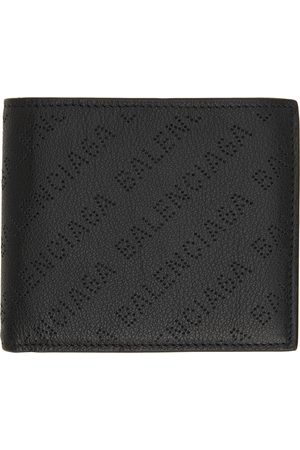 Balenciaga Black Cash Perforated Logo Bifold Wallet