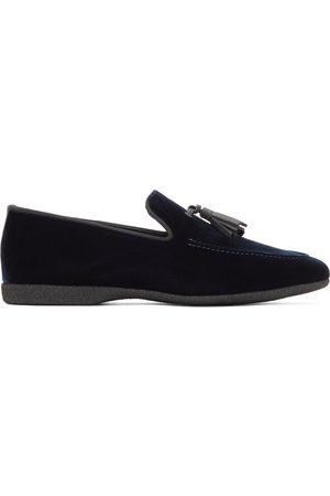 Paul Stuart Navy Velvet Hope Slip-On Loafers