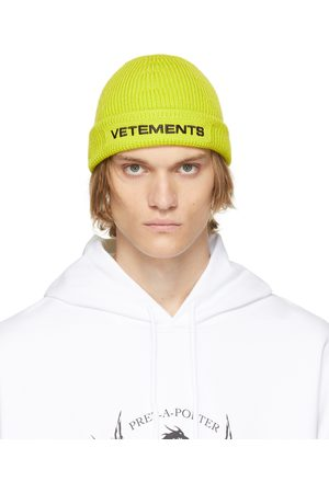 VETEMENTS Yellow Merino Wool Logo Beanie
