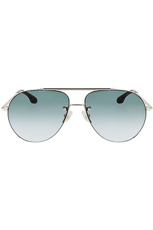 Victoria Beckham Double Bridge Aviator Sunglasses in Blue