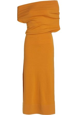 Altuzarra Women's Kim Off-the-Shoulder Midi Dress - Golden Cider - Size Large