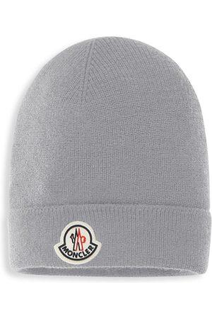 Moncler Kid's Rib-Knit Logo Beanie - Grey - Size 4