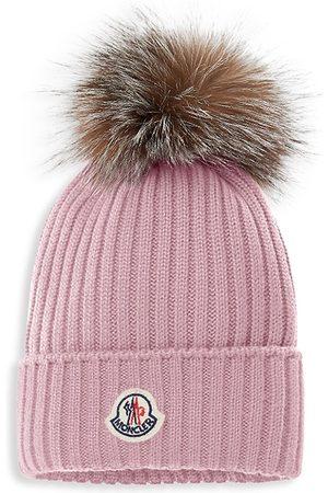 Moncler Beanies - Kid's Fox Fur Pom-Pom Wool Beanie - - Size 6
