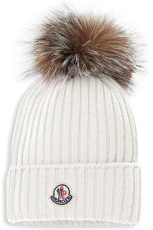 Moncler Kid's Fox Fur Pom-Pom Wool Beanie - Natural - Size 8