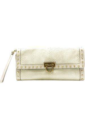 Salvatore Ferragamo Grey Leather Clutch Bags