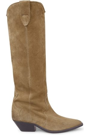 Isabel Marant Women's Denvee Suede Tall Western boot - Taupe - Size 9