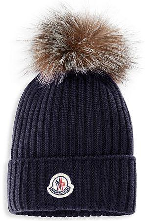 Moncler Beanies - Kid's Fox Fur Pom-Pom Wool Beanie - Navy - Size 4