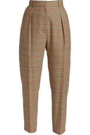 Altuzarra Sidney Plaid Wool-Blend Trousers - Burnt Umber Plaid - Size 6