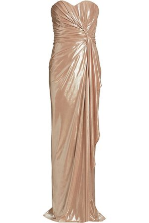 Rene Ruiz Collection Women's Metallic Strapless Ruched Gown - Champagne - Size 16