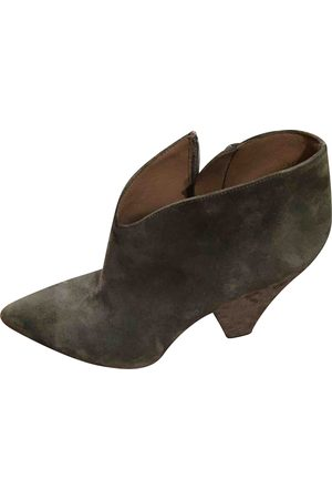 Alaïa Grey Suede Ankle Boots