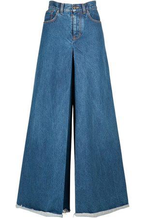 Maison Margiela Women Pants - Cotton Denim Maxi Pants