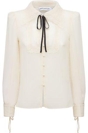 Self-Portrait Women Shirts - Recycled Chiffon Shirt W/ Lace Collar