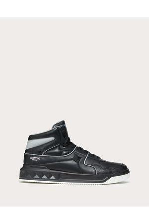 VALENTINO GARAVANI One Stud Mid-top Calfskin Sneaker Man Light Grey 100% Lambskin 39