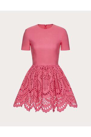VALENTINO Short Dress In San Gallo Edition Micro Faille Women Watermelon Polyester 46%, Cotton 54% 36