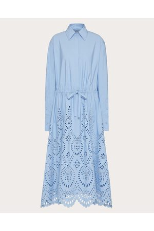 VALENTINO San Gallo Edition Poplin Shirt Dress Women Iris Liliac Cotton 100% 38